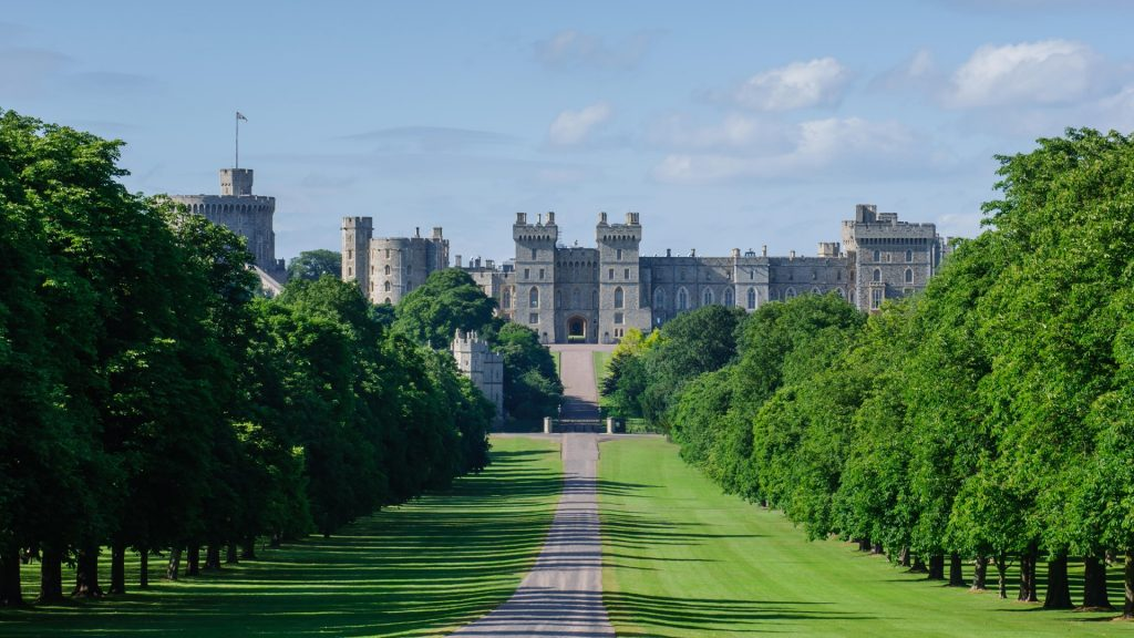 View of Windsor Castle from The Long Walk, Berkshire, England, UK
