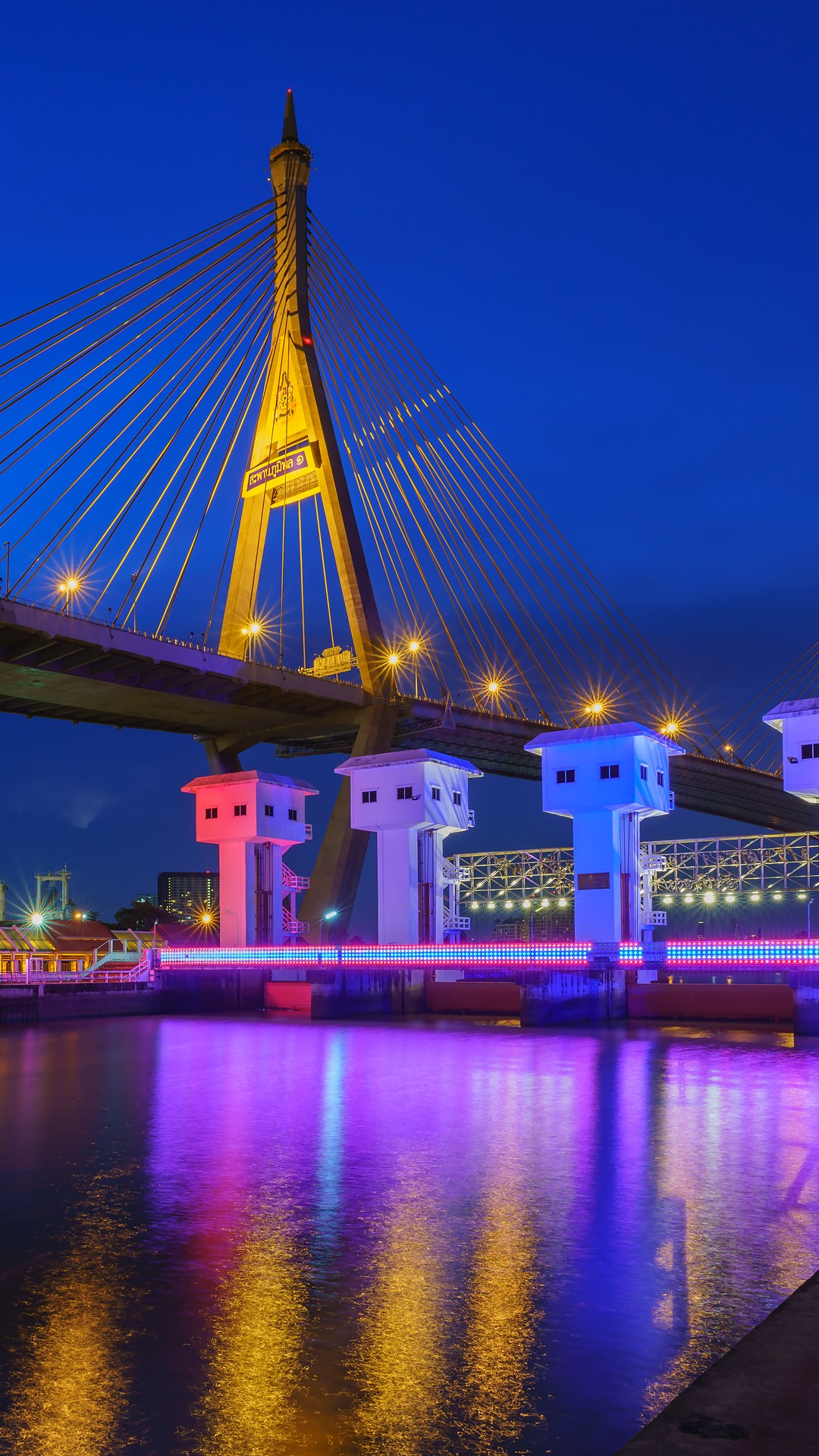 bhumibol bridge or industrial ring bridge crossing chao