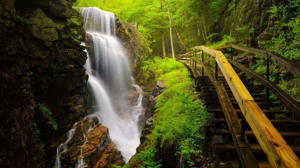 Avalanche Falls at Flume Gorge, Franconia Notch State Park, New Hampshire, USA
