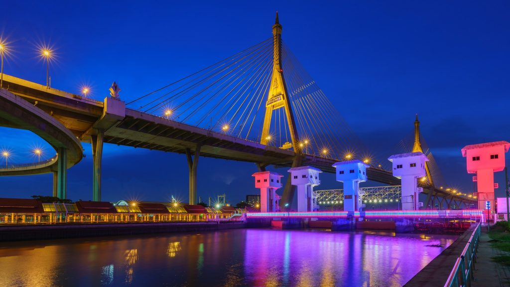 Bhumibol Bridge or Industrial Ring Bridge crossing Chao Phraya River, Bangkok, Thailand