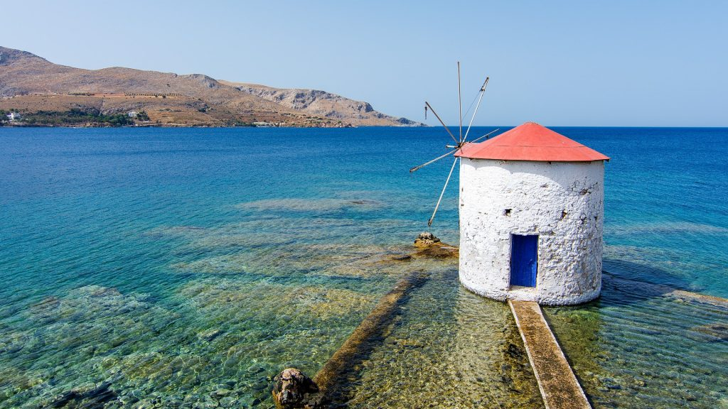 Windmill in Agia Marina village on Leros Island, Greece