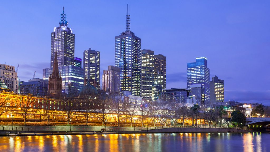 Skyline from Southbank towards Flinders St Station in Melbourne, Victoria, Australia