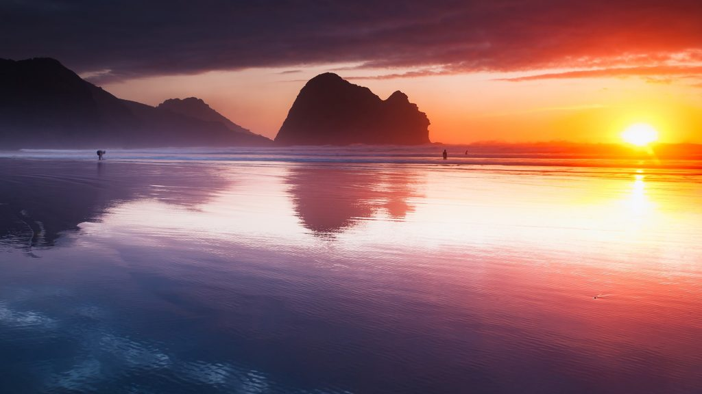 Sunset At Piha Beach Auckland New Zealand Windows 10