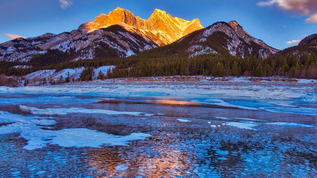 Methane bubbles under frozen Abraham Lake, Alberta, Canada