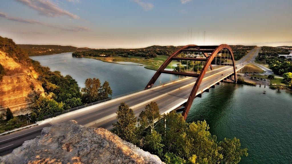 360 Bridge (Pennybacker) on Capital of Texas Highway and Lake Austin, USA