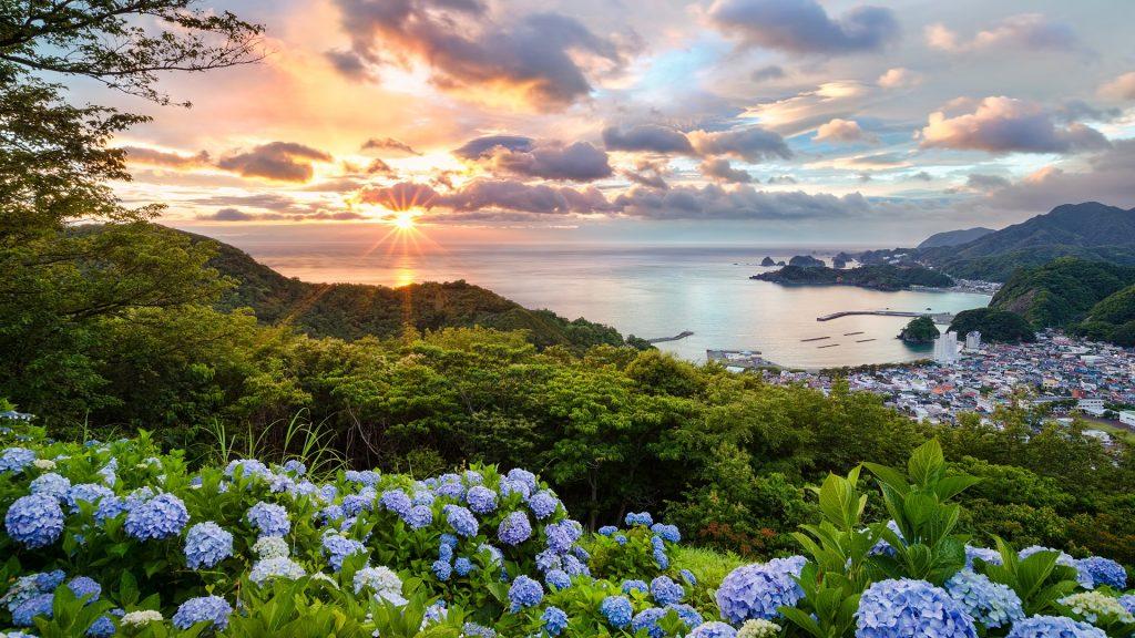 Sunset view from hydrangea hills, Matsuzaki, Shizuoka, Japan