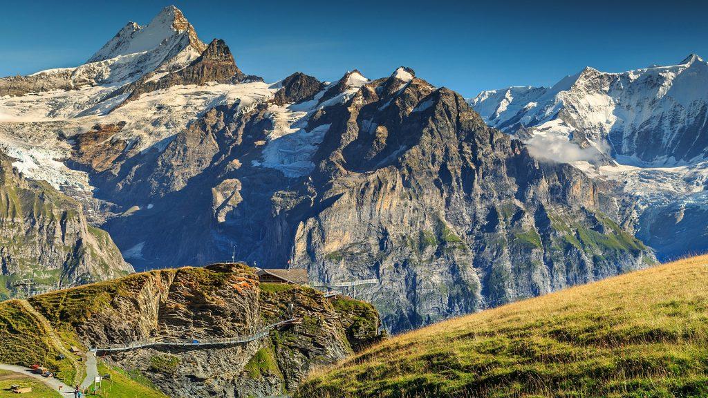 View from the First mountain station to Cliff Walk and Schreckhorn peak, Bernese Oberland, Switzerland