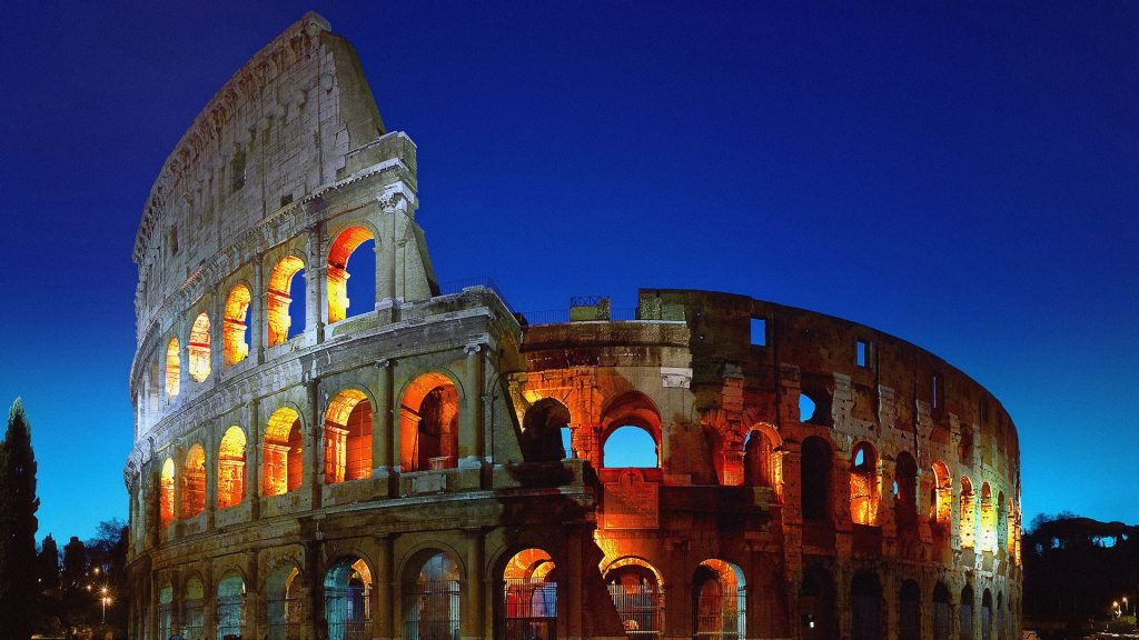 The Colosseum or Roman Coliseum at dusk, Rome, Italy