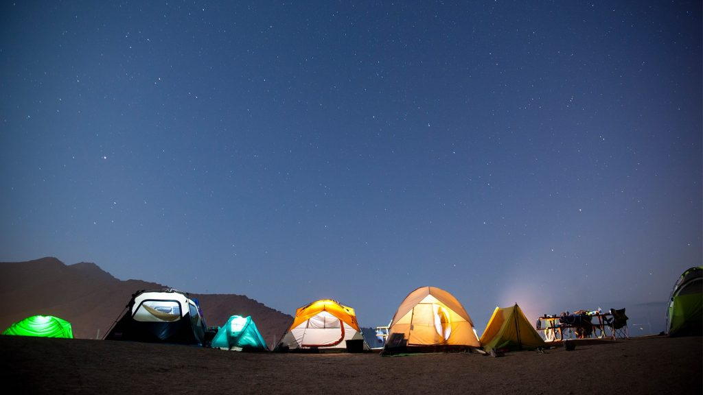 Summer night at beach side campsite, Catalina Island, California, USA