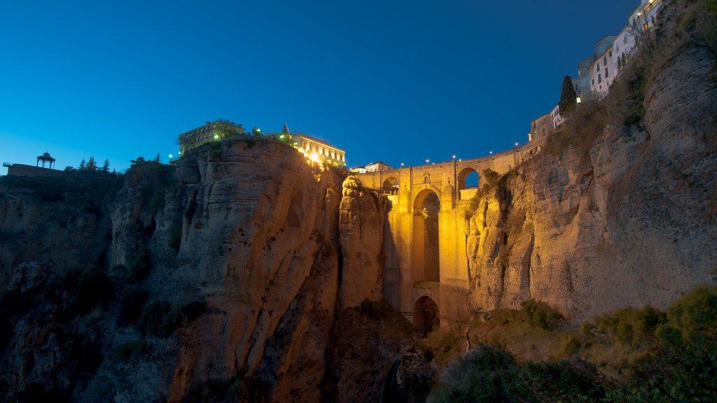 New bridge Puente Nuevo at night, Ronda, Spain