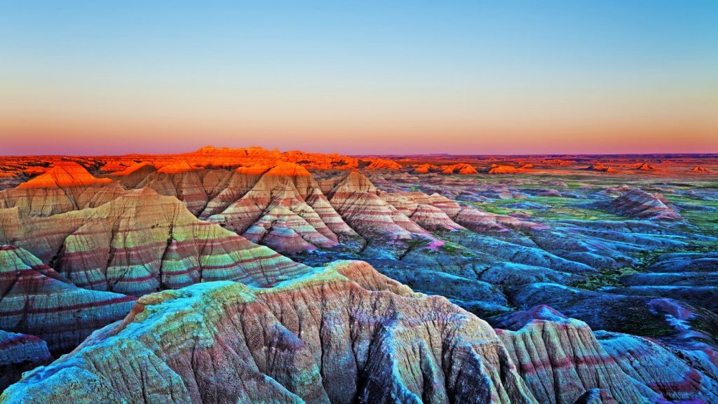 Sunset at The Wall, Badlands National Park, South Dakota, USA