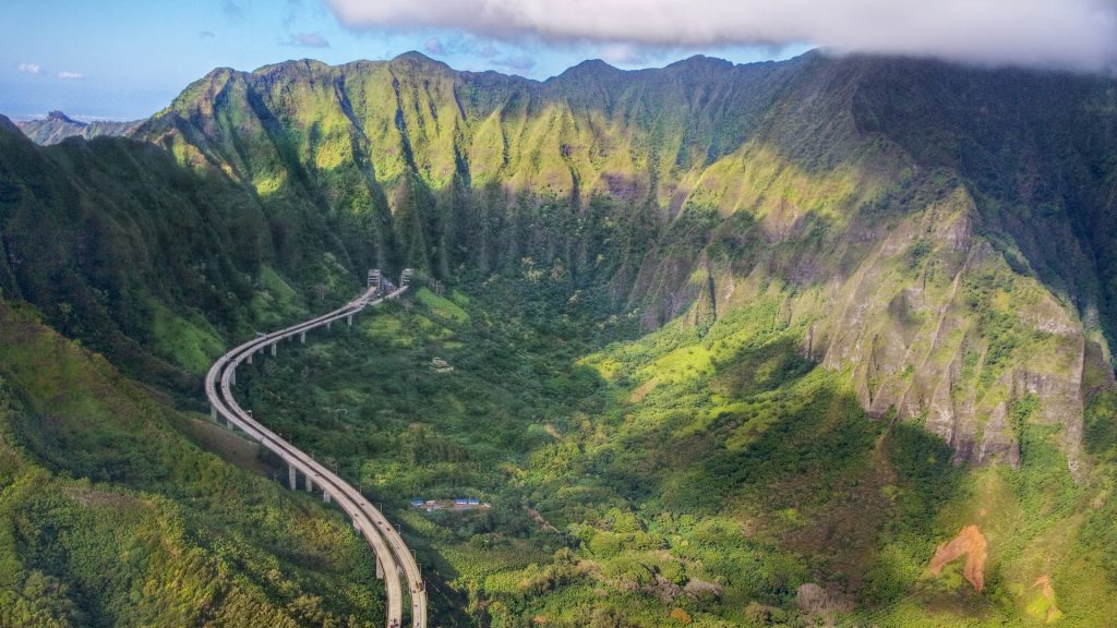 Aerial view of H-3 Interstate highway (John A. Burns Freeway), Kaneohe, Oahu, Hawaii, USA