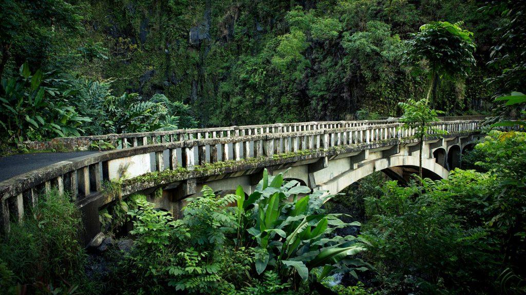 Old bridge on road to Hana Maui in rainforest on Maui, Hawaii, USA