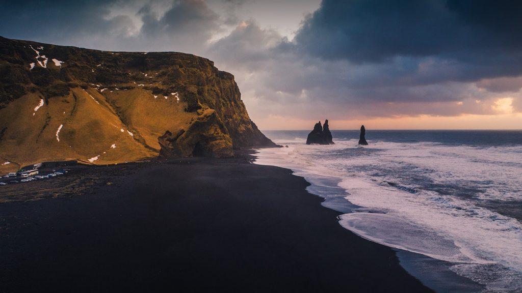 Aerial perspective of Reynisfjara black sand beach, Vik, Iceland