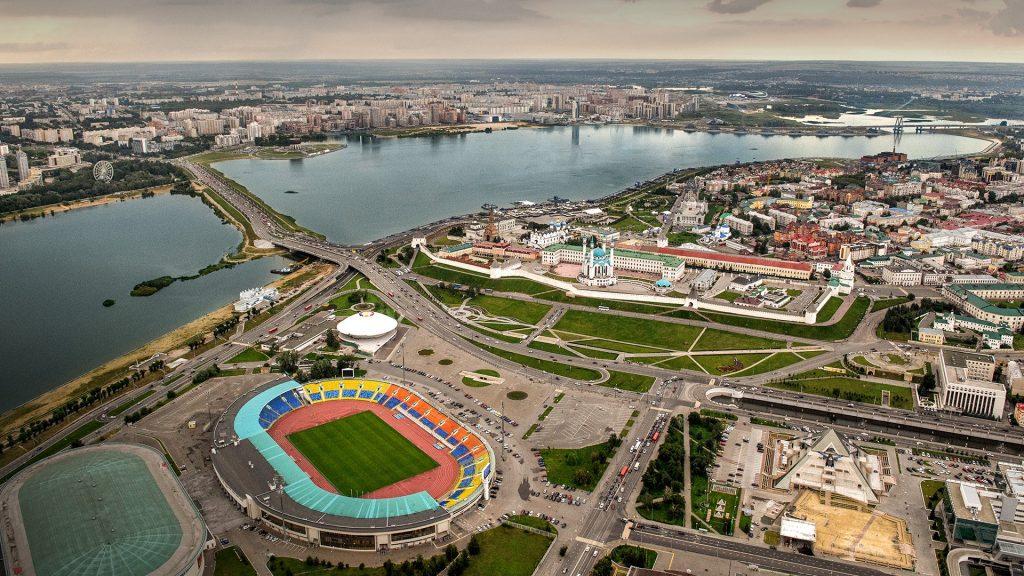 Kazan city landmarks aerial view with central stadium, Tatarstan, Russia