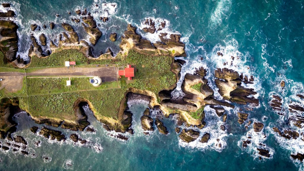 Point Arena Lighthouse aerial view, California, USA