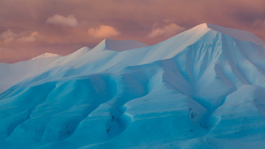 Sunset light on Helvetiafjellet at Adventdalen, Svalbard, Norway