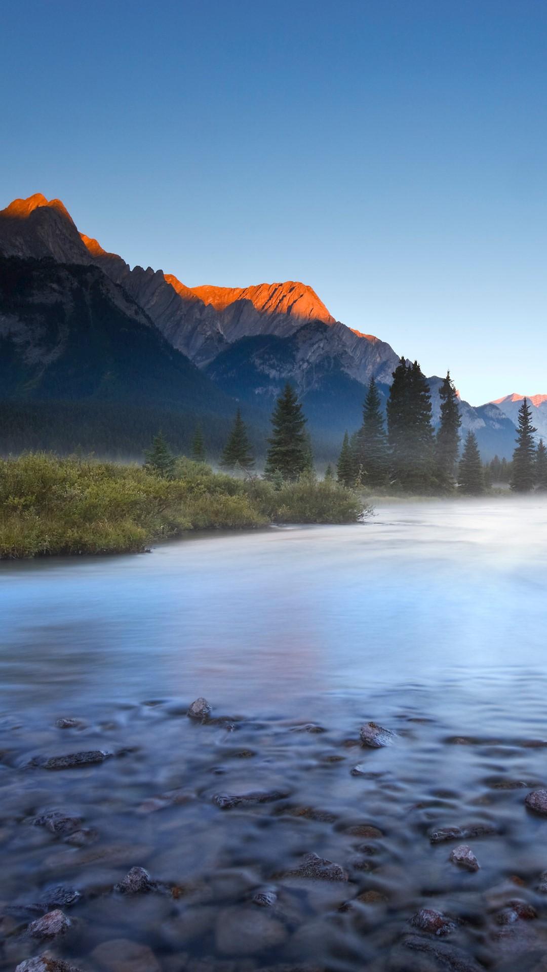 Sunrise On Elk River In Elk Lakes Provincial Park British