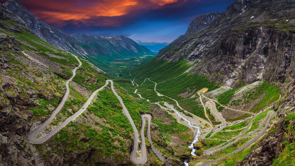 Trollstigen or Trolls' Path serpentine mountain road in Rauma, Møre og Romsdal, Norway