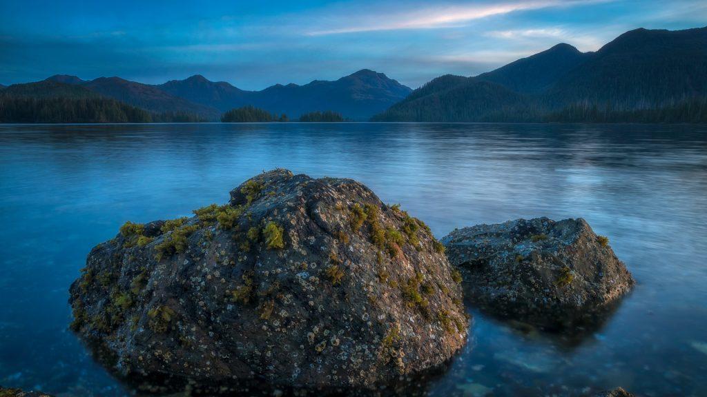 Late day light over Bay of Islands, Haida Gwaii, British Columbia, Canada