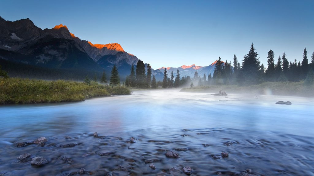Sunrise on Elk River in Elk Lakes Provincial Park, British Columbia, Canada