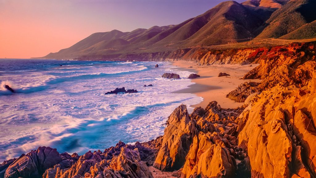 Rocky shoreline of Big Sur coastline south of Carmel, California, USA