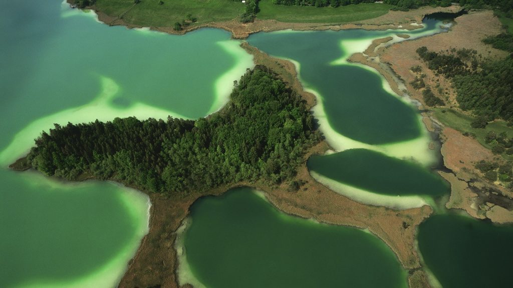 Aerial view of Osterseen, Upper Bavaria, Germany