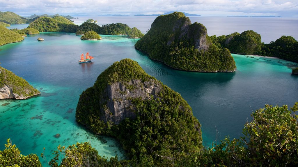 View of Pulau Wayag Islands in Raja Ampat Islands of Indonesia
