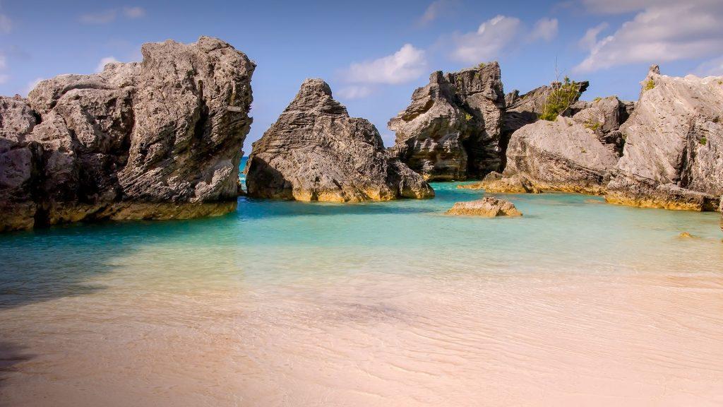 Deserted Port Royal Cove south sand beach (Baby Beach), South Shore, Bermuda