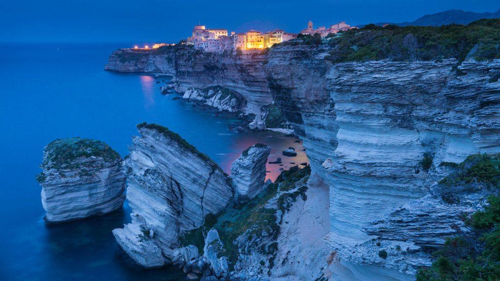 The village, the cliff and the sand grain rock, Bonifacio, Corse du Sud, France