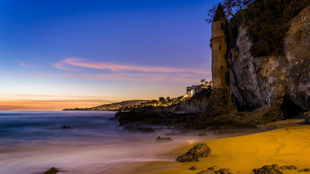 Victoria Beach Tower at sunset, Laguna Beach, California, USA