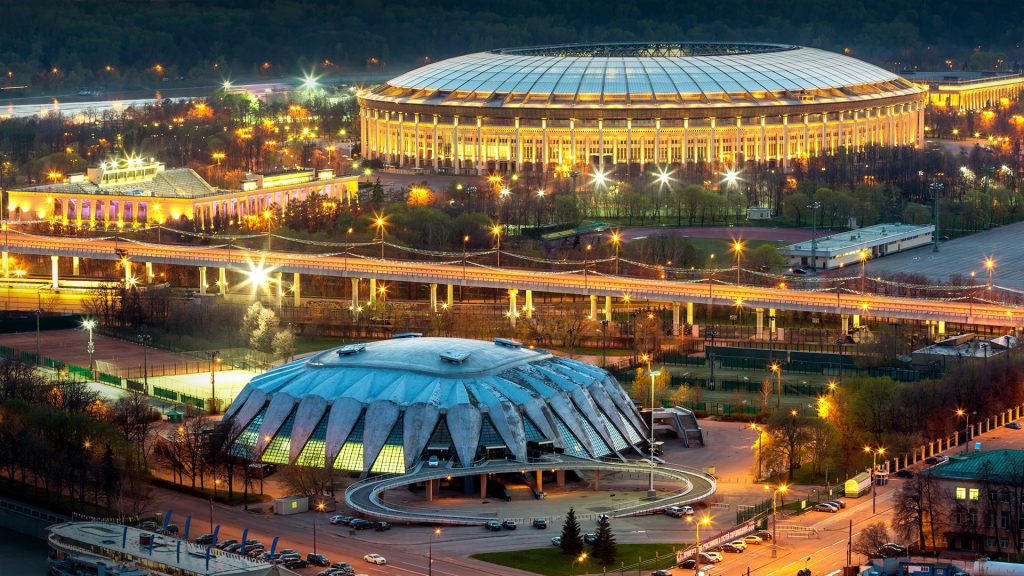 Night view of Luzhniki Stadium from Russian Academy of Sciences building, Moscow, Russia