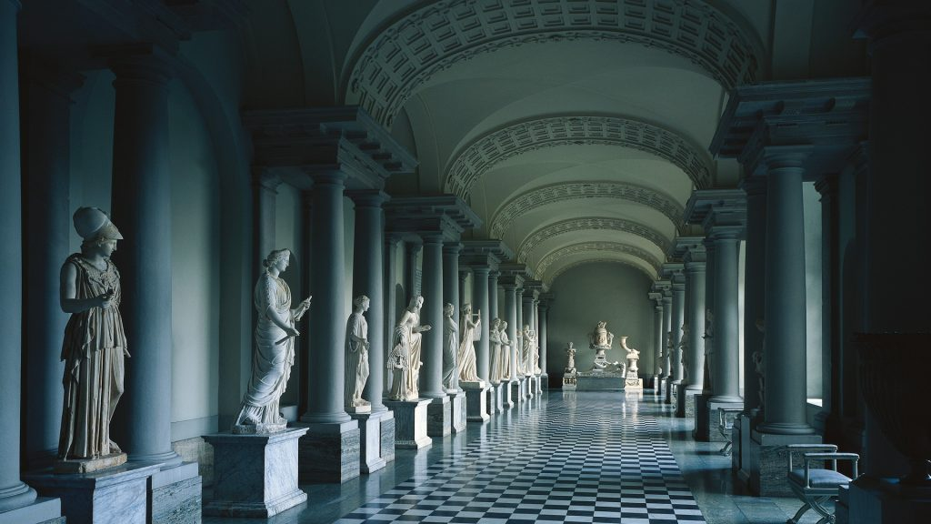 Colonnade in Gustav III´s Museum of Antiquities in Stockholm Palace, Sweden