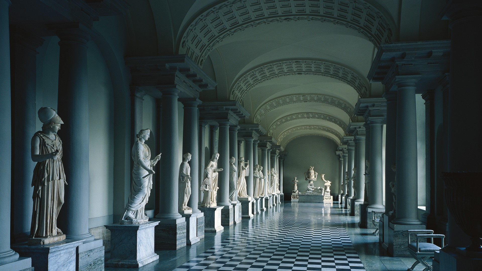 Colonnade in gustav iiis museum of antiquities in stockholm palace sweden