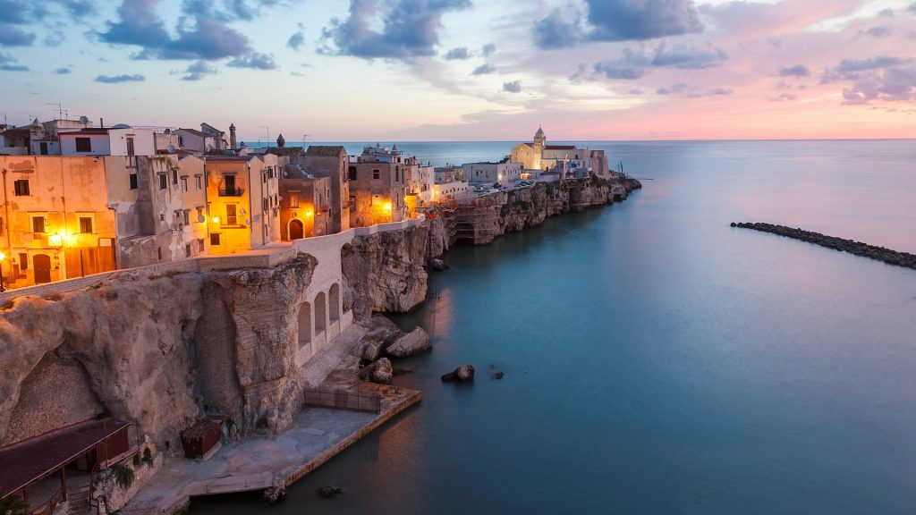 Town of Vieste with San Francesco church, Gargano, Foggia, Apulia, Italy