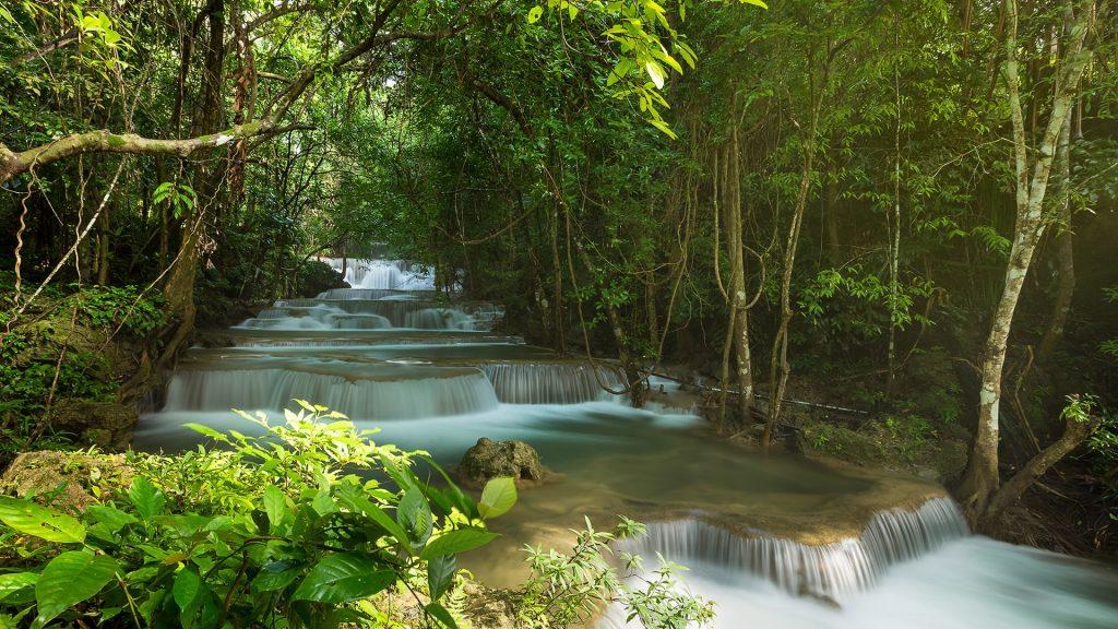 Huay Mae Khamin waterfall in rainy season, Kanchanaburi, Thailand