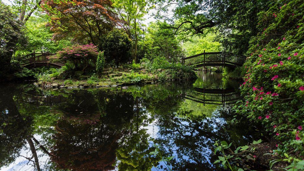 Bridge over a pond at Buddhapadipa Buddhist Temple, Wimbledon Parkside, London, England, UK