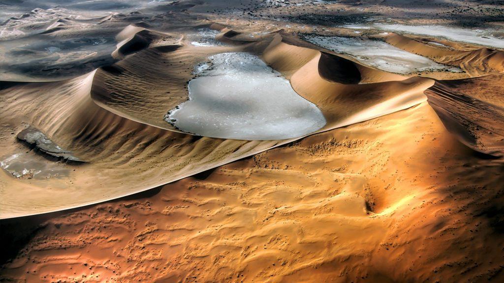 Bird view of Namibian sand dunes, Namibia desert landscape