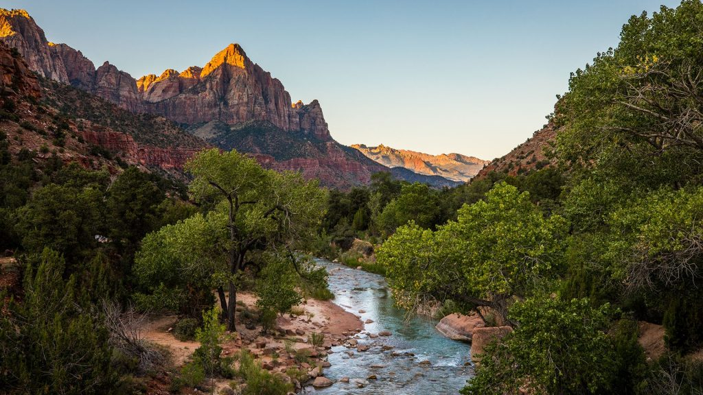 The Watchman and Virgin River at sunrise, Zion National Park, Utah, USA