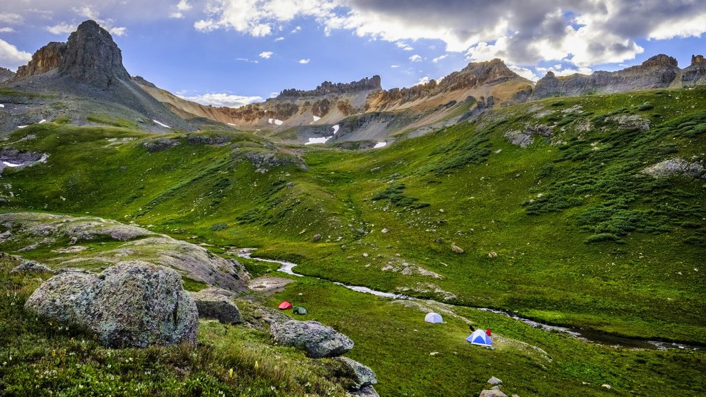 Camping in the high country near Ice Lake Basin, Colorado, USA