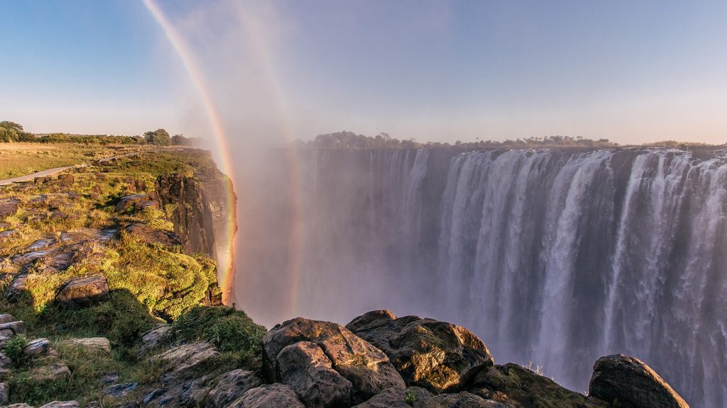 Victoria Falls against clear sky, Zimbabwe