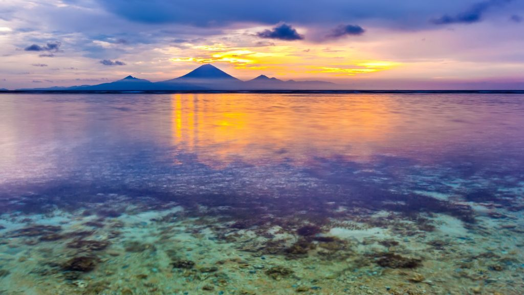 View from Gili Trawangan island to Gunung Agung mountain, Indonesia