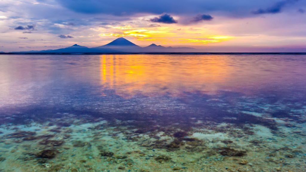 View from Gili Trawangan island to Gunung Agung mountain, Indonesia