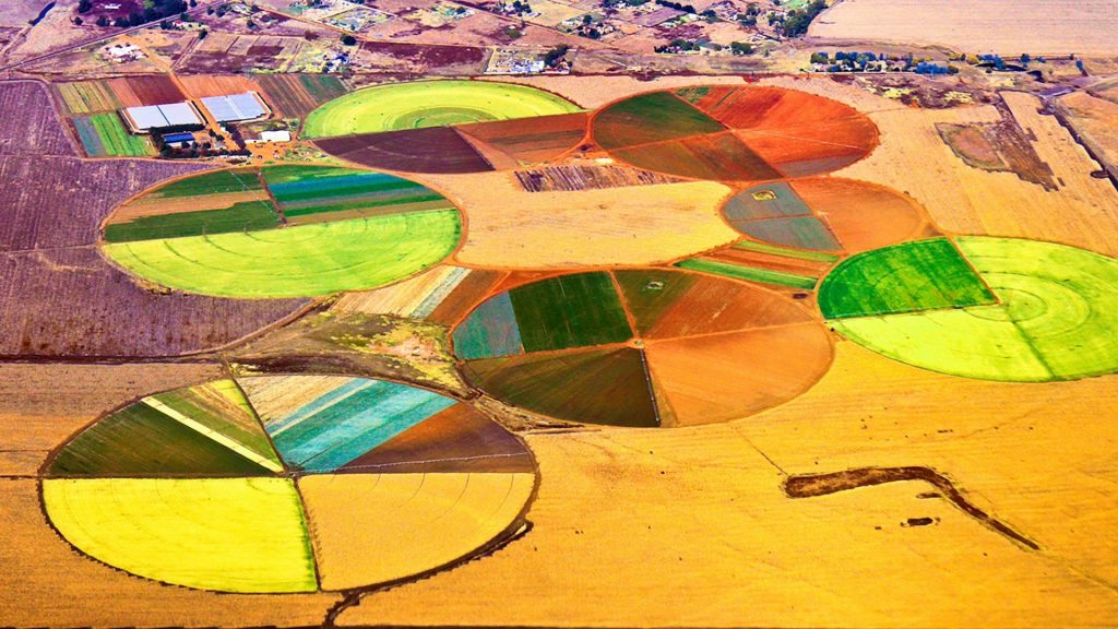 Colorful circles of agriculture viewed from an airplane, Pretoria, South Africa