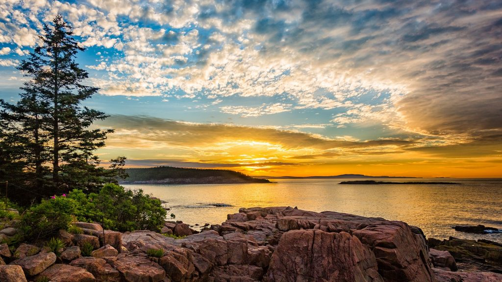 Sunrise from coast of Mount Desert Island Maine inside Acadia National Park, USA