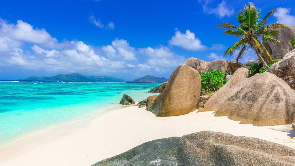 Paradise beach Anse Source d'Argent on island La Digue in Seychelles