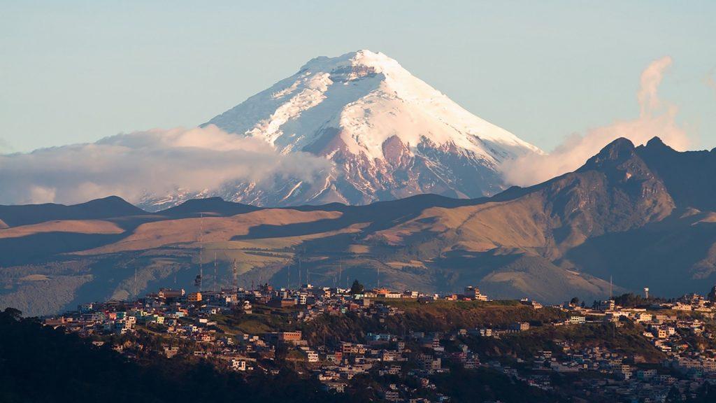 Cotopaxi volcano and Quito view, Ecuador