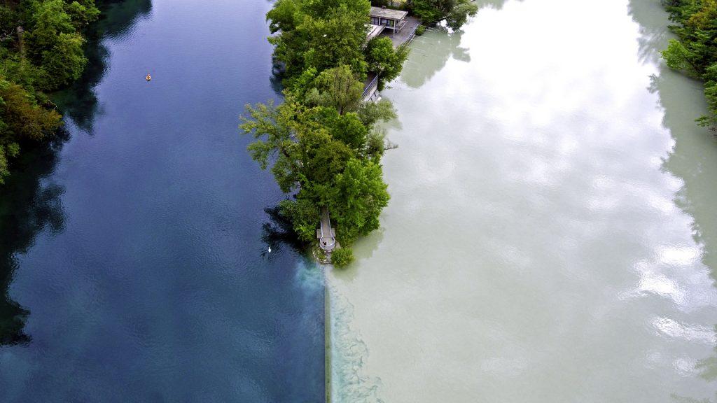 Confluence of Arve and Rhône rivers in Geneva, Switzerland