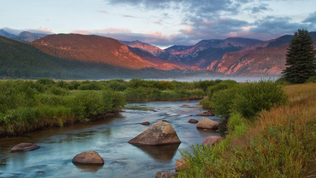 Big Thompson River, Rocky Mountain National Park sunrise on Moraine Park, Colorado, USA