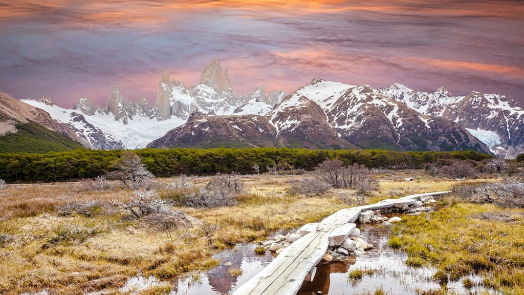 Footbridge in Andes, Fitz Roy mountain range, Patagonia, Argentina